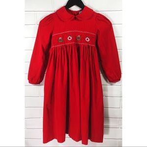 Rare Editions Smocked Corduroy Christmas Dress